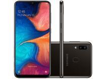 "Smartphone Samsung Galaxy A20 32GB Preto 4G   - 3GB RAM 6,4"" Câm. Dupla + Câm. Selfie 8MP"