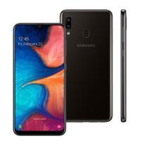 """Smartphone Samsung Galaxy A20 Preto 32GB, Tela Infinita de 6.4"""", Câmera Traseira Dupla, Leitor de Digital, Android 9.0 e Processador Octa-Core -"""