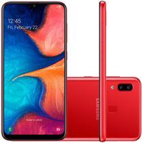 """Smartphone Samsung Galaxy A20 Tela Infinita de 6,4"""" 4G Câmera Dupla 13MP + 5MP Vermelho 32GB -"""