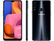 "Smartphone Samsung Galaxy A20s 32GB Preto 4G - 3GB RAM Tela 6,5"" Câm. Tripla + Câm. Selfie 8MP"