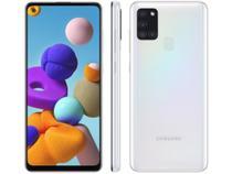 "Smartphone Samsung Galaxy A21s 64GB Branco 4G - 4GB RAM 6,5"" Câm. Quádrupla + Selfie 13MP -"