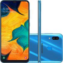 "Smartphone Samsung Galaxy A30 64GB Azul 4G - 4GB RAM 6,4"" Câm. Dupla + Câm. Selfie 16MP -"