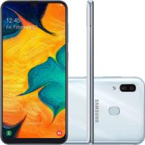 "Smartphone Samsung Galaxy A30 64GB Branco 4G - 4GB RAM 6,4"" Câm. Dupla + Câm. Selfie 16MP -"