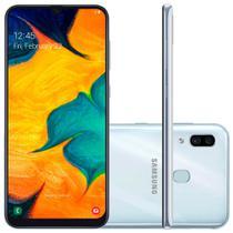"Smartphone Samsung Galaxy A30 64GB Dual Chip 4G Tela 6,4"" Câmera 16MP e 5MP Frontal 16MP Android 9 Branco -"