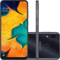 "Smartphone Samsung Galaxy A30 64GB Preto 4G - 4GB RAM 6,4"" Câm. Dupla + Câm. Selfie 16MP -"