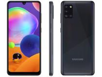 "Smartphone Samsung Galaxy A31 128GB Preto 4G - Octa-Core 4GB RAM Tela 6,4"" Câm.Quádrupla + Selfie -"