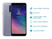 Smartphone Samsung Galaxy A6+ 64GB Prata - Dual Chip 4G Câm. 16MP e 5MP + Selfie 24MP Flash