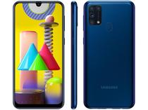 "Smartphone Samsung Galaxy M31 128GB Azul 4G - 6GB RAM Tela 6,4"" Câm. Quádrupla + Selfie 32MP"