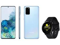 "Smartphone Samsung Galaxy S20+ 128GB Cloud Blue - 8GB RAM Tela 6,7"" + Smartwatch Galaxy Watch Active"