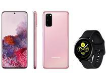 "Smartphone Samsung Galaxy S20 128GB Cloud Pink 4G - 8GB RAM Tela 6,2"" + Smartwatch Galaxy Watch Active"