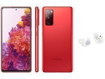 Smartphone Samsung Galaxy S20 FE 128GB Cloud Red - 6GB RAM + Fone de Ouvido Bluetooth Galaxy Buds+