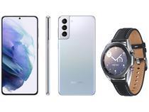 Smartphone Samsung Galaxy S21+ 128GB Prata 5G - 8GB RAM + Smartwatch Galaxy Watch 3 LTE Prata