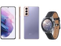 Smartphone Samsung Galaxy S21+ 256GB Violeta 5G - 8GB RAM + Smartwatch Galaxy Watch 3 LTE Prata