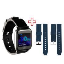 Smartwatch Goldentec Preto + Pulseira para Smartwatch Goldentec Azul - KIT