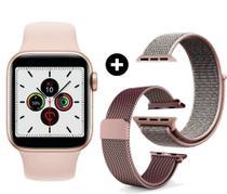 Smartwatch ivo 13 série 6 rosê (w56) com 52 faces tela 44mm infinita lanç 2021 ios e android 3 puls rosa - Globalwatch Iwo