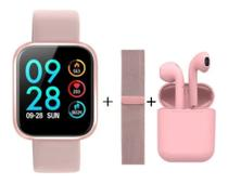 Smartwatch Relógio Feminino P70 Rose Mais Pulseira De Metal Mais Fone S/Fio -