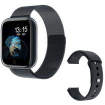 Smartwatch Relógio Inteligente Fitness Aço P80 + Puls. Extra Preto -