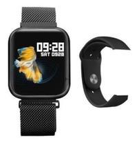 Smartwatch Relógio Inteligente P80 Preto 2 Pulseiras Multiesportes saúde - - BHcell -