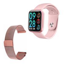 Smartwatch Relógio P80 Duas Pulseiras A Prova Dágua Feminino Mulher -