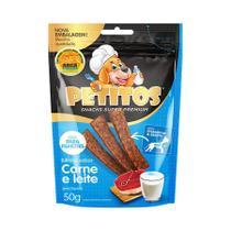 Snack Petitos para Cães Filhotes Sabor Carne e Leite 50g -