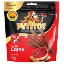 Snack Petitos Para Cães Sticks Sabor Carne - 1kg -