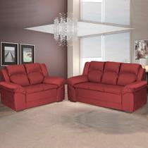 Sofá 2 e 3 Lugares Prius Umaflex Suede Vermelho -