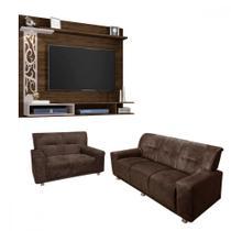 Sofá 3 e 2 lugares + painel com led para TV de até 55 polegadas - LojasMM