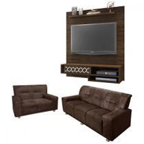 Sofá 3 e 2 lugares + painel para TV de até 50 polegadas - Lojasmm