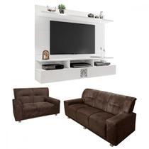 Sofá 3 e 2 lugares + painel para TV de até 60 polegadas - LojasMM