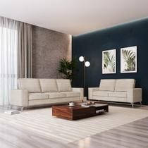 Sofá 3 e 2 Lugares Toio - CDP - Bege/Branco - Casa De Pedra