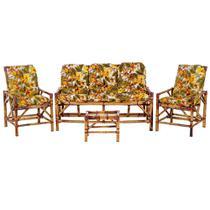 Sofá 3 Lugares 2 Cadeiras e Mesinha de Bambu Cancun Para Area Edicula Jardim G01 - Click Moveis Artesanais