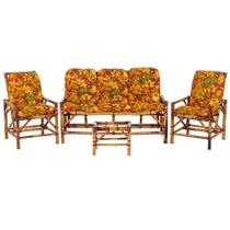 Sofá 3 Lugares 2 Cadeiras e Mesinha de Bambu Cancun Para Area Edicula Jardim G02 - Click Moveis Artesanais