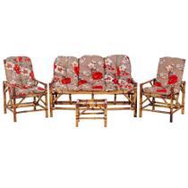 Sofá 3 Lugares 2 Cadeiras e Mesinha de Bambu Cancun Para Area Edicula Jardim G04 - Click Moveis Artesanais