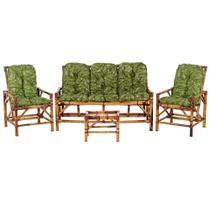 Sofá 3 Lugares 2 Cadeiras e Mesinha de Bambu Cancun Para Area Edicula Jardim G06 - Click Moveis Artesanais