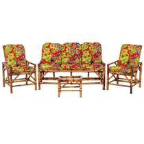 Sofá 3 Lugares 2 Cadeiras e Mesinha de Bambu Cancun Para Area Edicula Jardim G09 - Click Moveis Artesanais