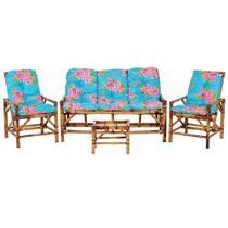 Sofá 3 Lugares 2 Cadeiras e Mesinha de Bambu Cancun Para Area Edicula Jardim G11 - Click Moveis Artesanais