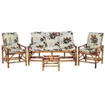 Sofá 3 Lugares 2 Cadeiras e Mesinha de Bambu Cancun Para Area Edicula Jardim G12 - Não Informada