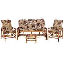 Sofá 3 Lugares 2 Cadeiras e Mesinha de Bambu Cancun Para Area Edicula Jardim G13 - Click Moveis Artesanais