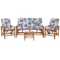 Sofá 3 Lugares 2 Cadeiras e Mesinha de Bambu Cancun Para Area Edicula Jardim G14 - Click Moveis Artesanais