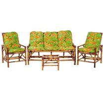 Sofá 3 Lugares 2 Cadeiras e Mesinha de Bambu Cancun Para Area Edicula Jardim G16 - Click Moveis Artesanais
