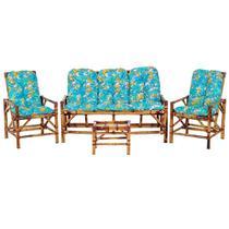 Sofá 3 Lugares 2 Cadeiras e Mesinha de Bambu Cancun Para Area Edicula Jardim G17 - Click Moveis Artesanais