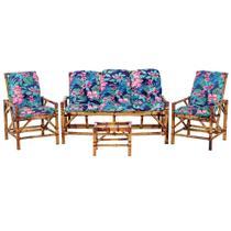 Sofá 3 Lugares 2 Cadeiras e Mesinha de Bambu Cancun Para Area Edicula Jardim G23 - Click Moveis Artesanais