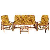 Sofá 3 Lugares 2 Cadeiras e Mesinha de Bambu Cancun Para Area Edicula Jardim G26 - Click Moveis Artesanais