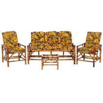 Sofá 3 Lugares 2 Cadeiras e Mesinha de Bambu Cancun Para Area Edicula Jardim G27 - Click Moveis Artesanais