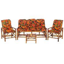 Sofá 3 Lugares 2 Cadeiras e Mesinha de Bambu Cancun Para Area Edicula Jardim G31 - Click Moveis Artesanais