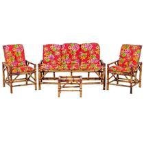 Sofá 3 Lugares 2 Cadeiras e Mesinha de Bambu Cancun Para Area Edicula Jardim G34 - Click Moveis Artesanais