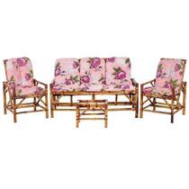 Sofá 3 Lugares 2 Cadeiras e Mesinha de Bambu Cancun Para Area Edicula Jardim G37 - Click Moveis Artesanais