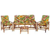 Sofá 3 Lugares 2 Cadeiras e Mesinha de Bambu Cancun Para Area Edicula Jardim G38 - Click Moveis Artesanais