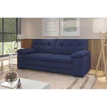 Sofá 3 Lugares 2,17mts Santa Fé Com Espuma Soft Tecido Suede Cor Azul Marinho - Best house