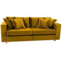Sofá 3 Lugares Amarelo em Veludo 2,20m Phaeo Plus - Brandson